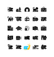 nomadic vacations black glyph icons set on white vector image
