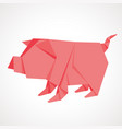 origami pink pig from the paper vector image