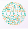 outdoor concept in circle with thin line icons vector image vector image