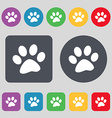 Paw icon sign A set of 12 colored buttons Flat