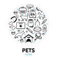 pets line icons round concept vector image vector image