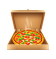 pizza in box isolated on white vector image vector image