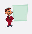 quiet and relaxed white businessman is showing as vector image vector image