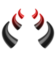Red and black devil horns vector image vector image