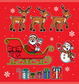 santa sleigh set with cartoon style vector image vector image