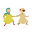 saudi arab muslim couple or kids happy walking vector image