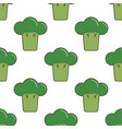 seamless pattern with cartoon broccoli vector image