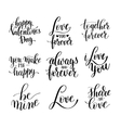 set black and white hand written lettering vector image vector image