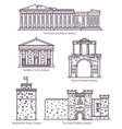 set line isolated greek sightseeing landmarks vector image