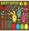 Set of easter eggs animals and flowers vector image