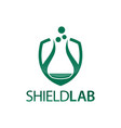 shield lab shield with laboratory icon flat logo vector image