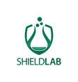 shield lab with laboratory icon flat logo vector image