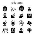stupid foolish silly icon set vector image