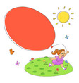 summer scene - girl balloon flowers sun bird vector image