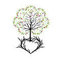 tree with florishes and heart vector image vector image