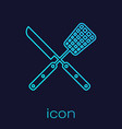 turquoise crossed fork and knife line icon vector image