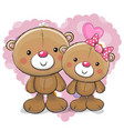 two cute cartoon bears vector image vector image