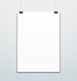 vertical poster suspended on office clips mockup vector image vector image