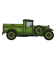 Vintage green dustcart vector image