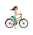 young woman riding a bike with headphones active vector image vector image