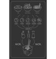 Asian Chalkboard Thai Food Ingredients vector image