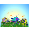 Easter Eggs on Springtime Meadow vector image