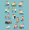 family people with baby and kid cartoon set vector image