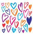 hand drawn colorful hearts grunge inked vector image