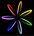 Neon rainbow flower vector image