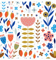abstract flowers and plants botanical flat pattern vector image