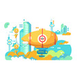 airship hovering in city design flat vector image