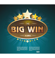 Big Win gold sign for online casino poker roulette vector image