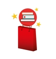 books red bag gift star design vector image vector image
