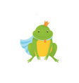 cartoon frog prince with golden crown and blue vector image