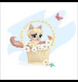 cat in a basket vector image