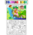 childrens coloring and color forest a magic vector image vector image
