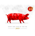 chinese new year 2019 low poly red pig card vector image vector image