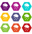 cloud and snowflakes icon set color hexahedron vector image vector image