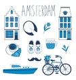 Colorful Amsterdam related icons set vector image