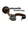 concept on juneteenth freedom day open shackles vector image