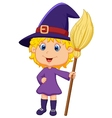 Cute cartoon witch vector image vector image