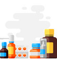 design with medicine bottles and pills vector image