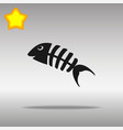 fish bone black icon button logo symbol vector image vector image