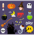 flat design halloween icons vector image vector image