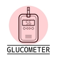Glucometer test strip Label flat icon medical vector image vector image