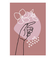 hand drawn woman s hand touching vector image