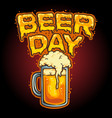 happy beer day glass mascot vector image vector image