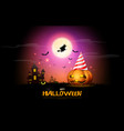 happy halloween pumpkins party night celebration vector image