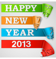 Happy New Year curled strips eps10 vector image vector image