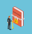 isometric businessman holding key standing vector image vector image